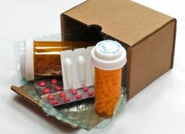 box of compounded prescription medications shipped from a mail order pharmacy