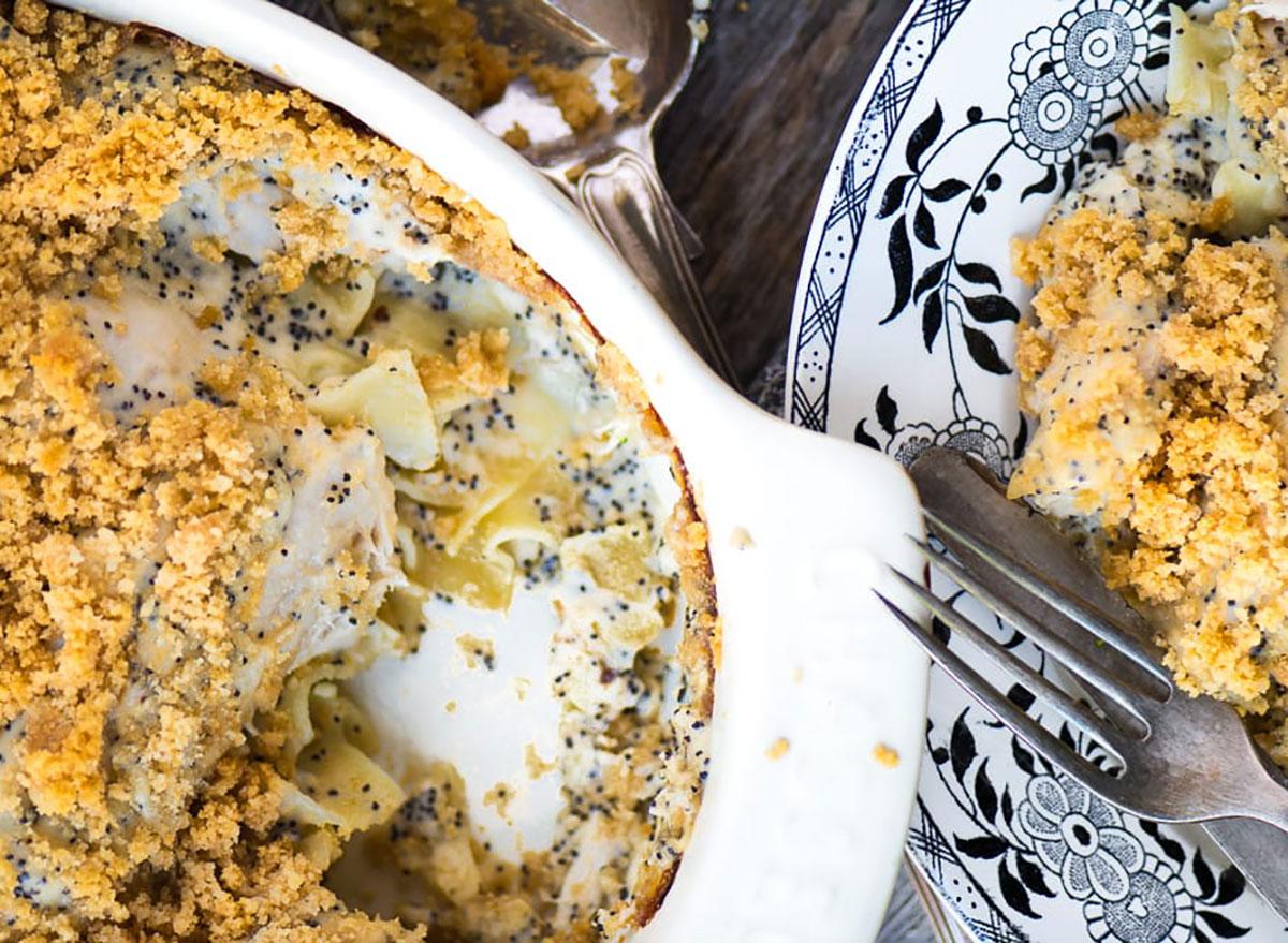 poppy seed chicken casserole in baking dish