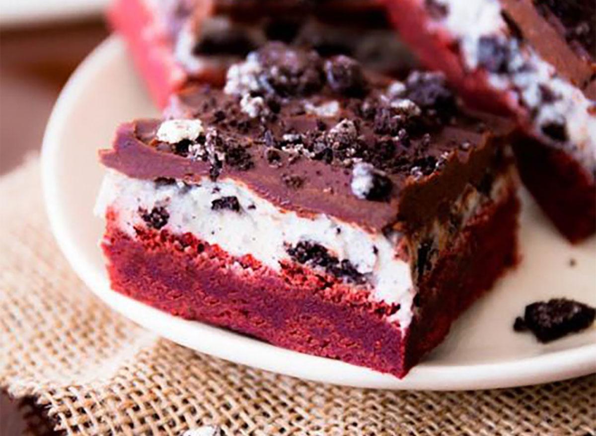 red velvet oreo brownie on plate