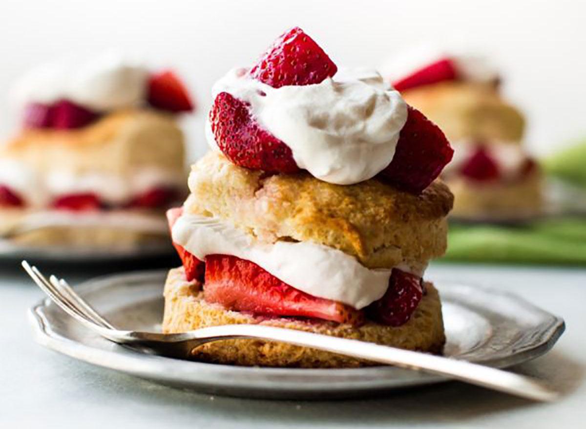 strawberry shortcake dessert with whipped cream