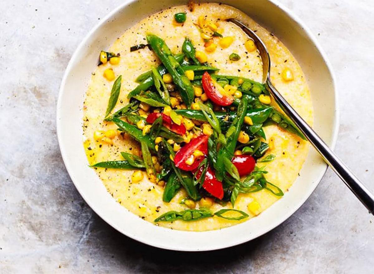 summer polenta with asparagus