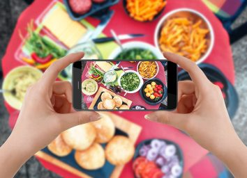 taking photo of food