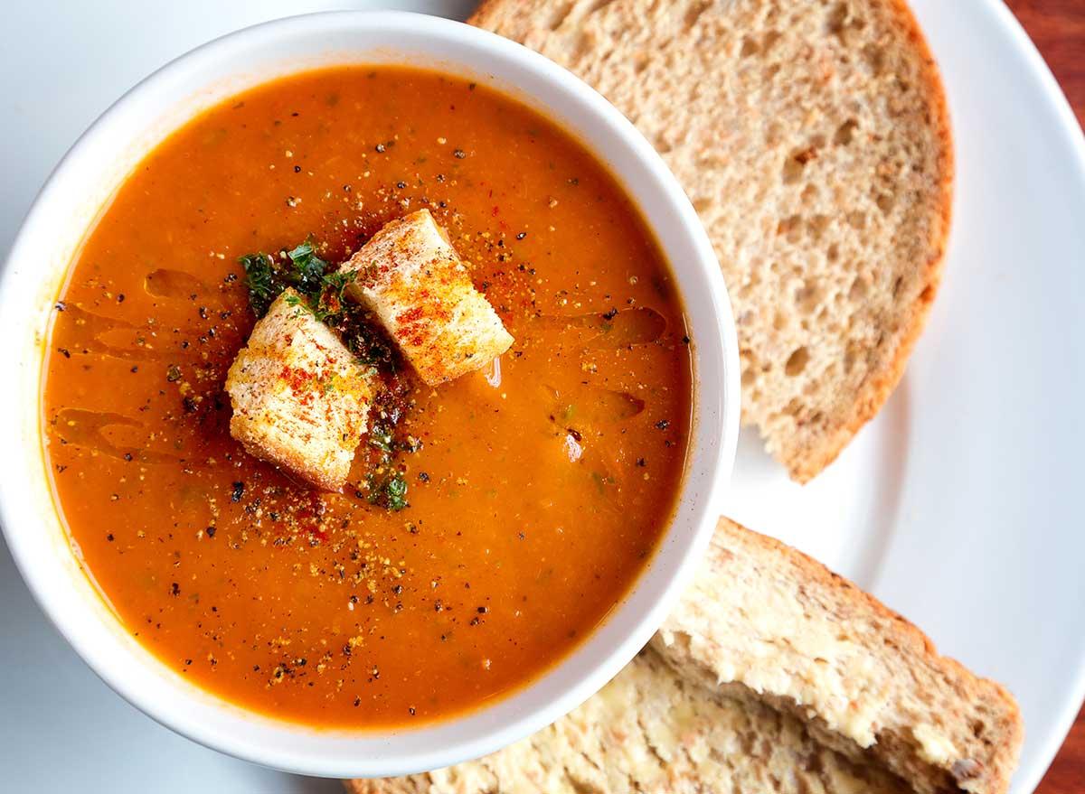 tomato soup croutons