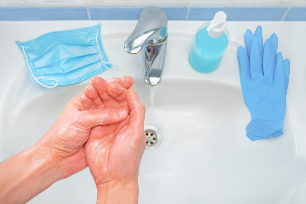 Basic protective measures against new coronavirus. Wash hands, use medical mask and gloves. Avoid touching eyes, nose and mouth. Maintain social distancing. Wash your hands frequently