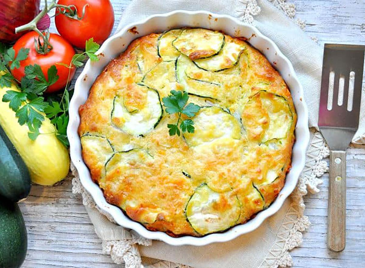 zucchini pie in baking dish