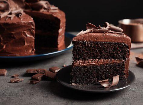 slice of moist chocolate cake