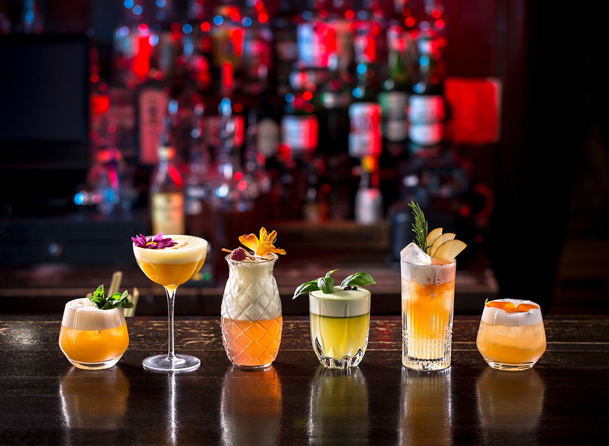row of cocktails on the bar