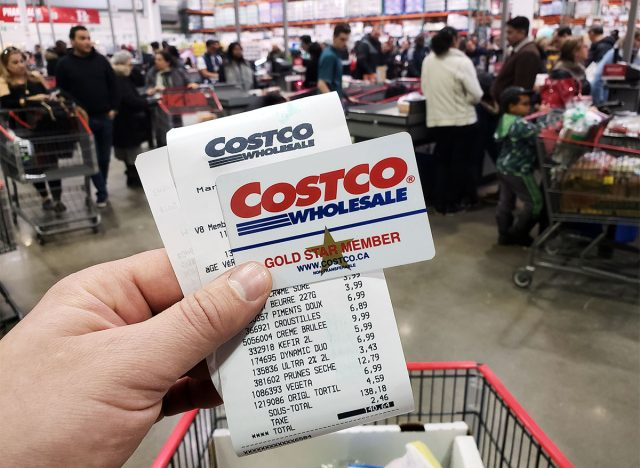 costco membership card with receipt