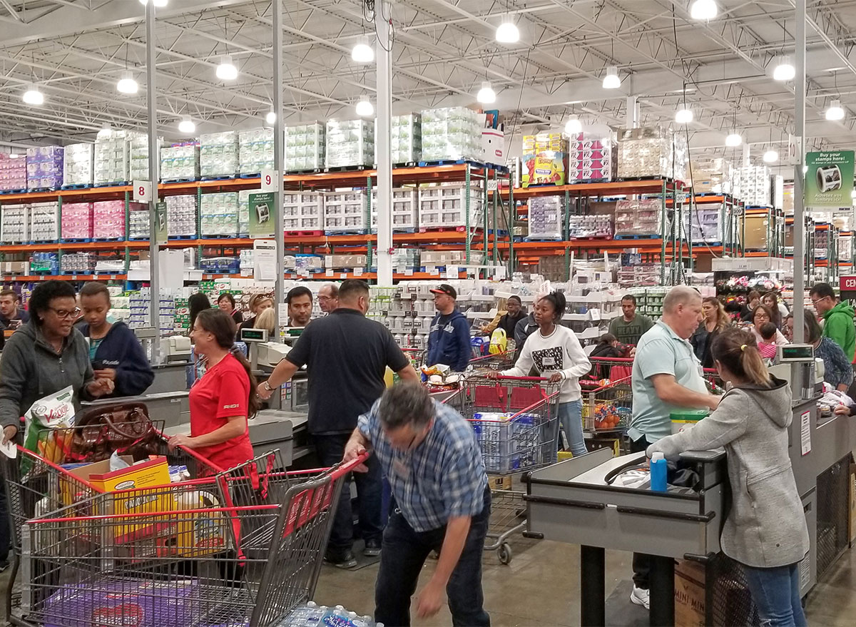 customers at costco checkout aisles