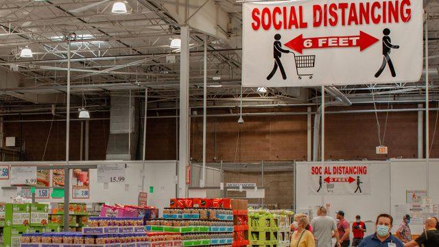 costco social distancing sign