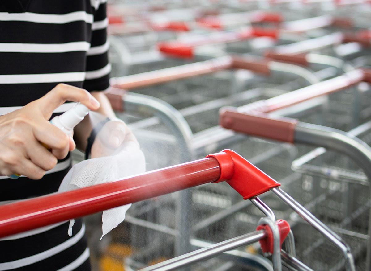 disinfecting shopping cart