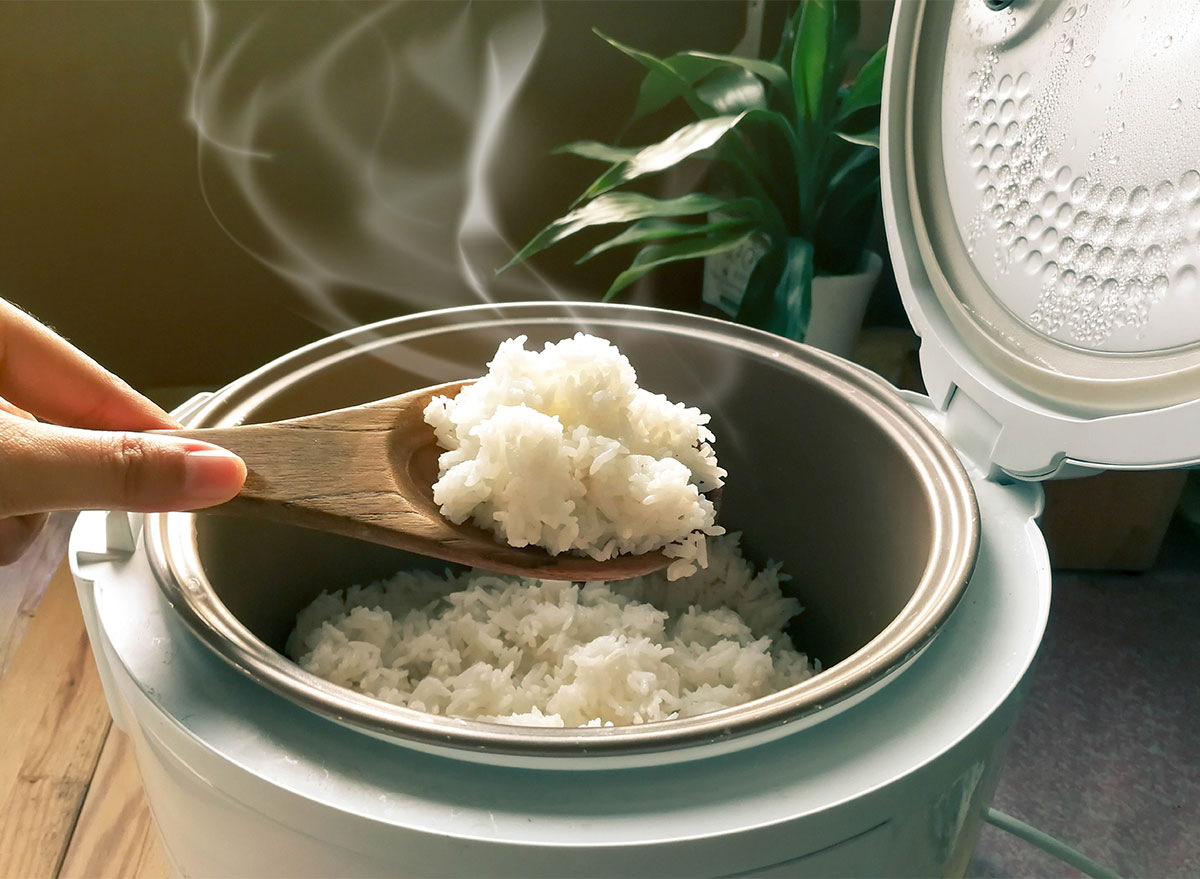 rice cooker with wooden spoon