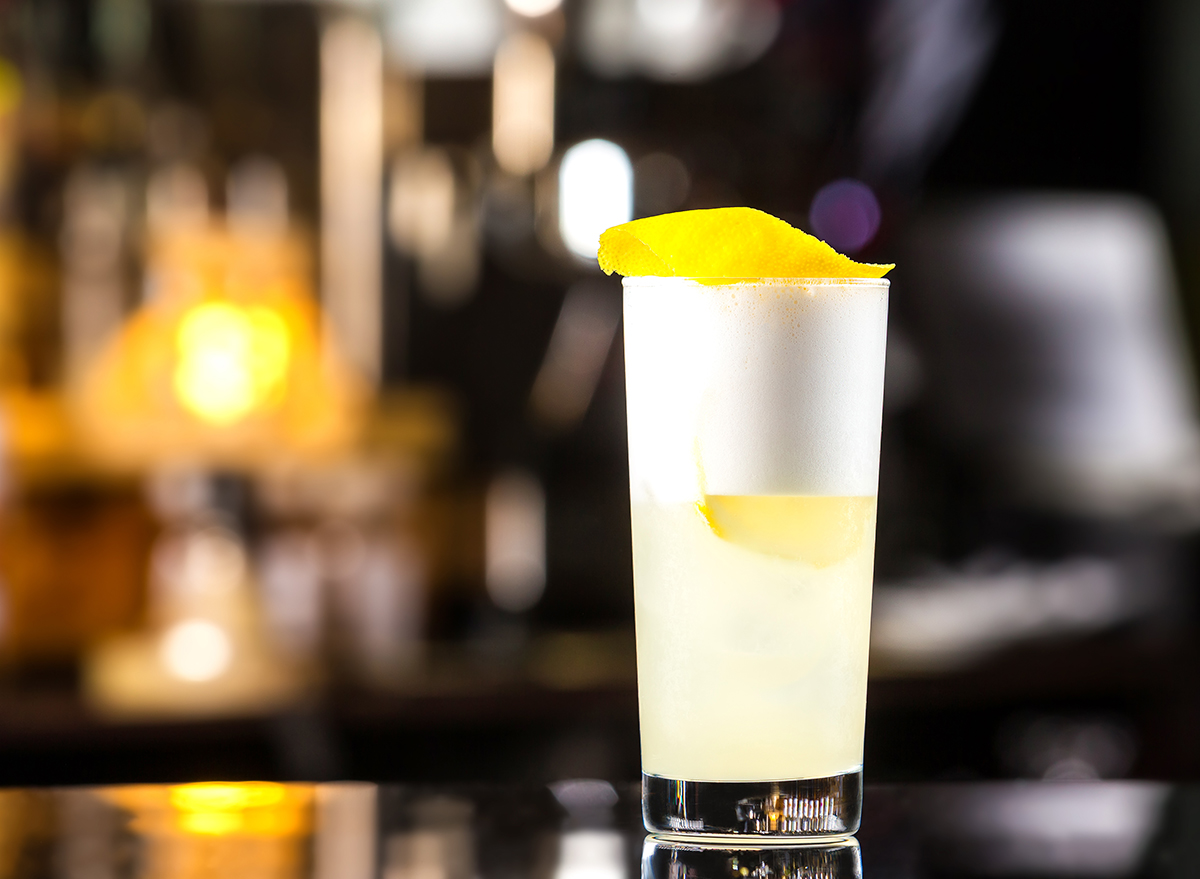 gin fizz cocktail in glass
