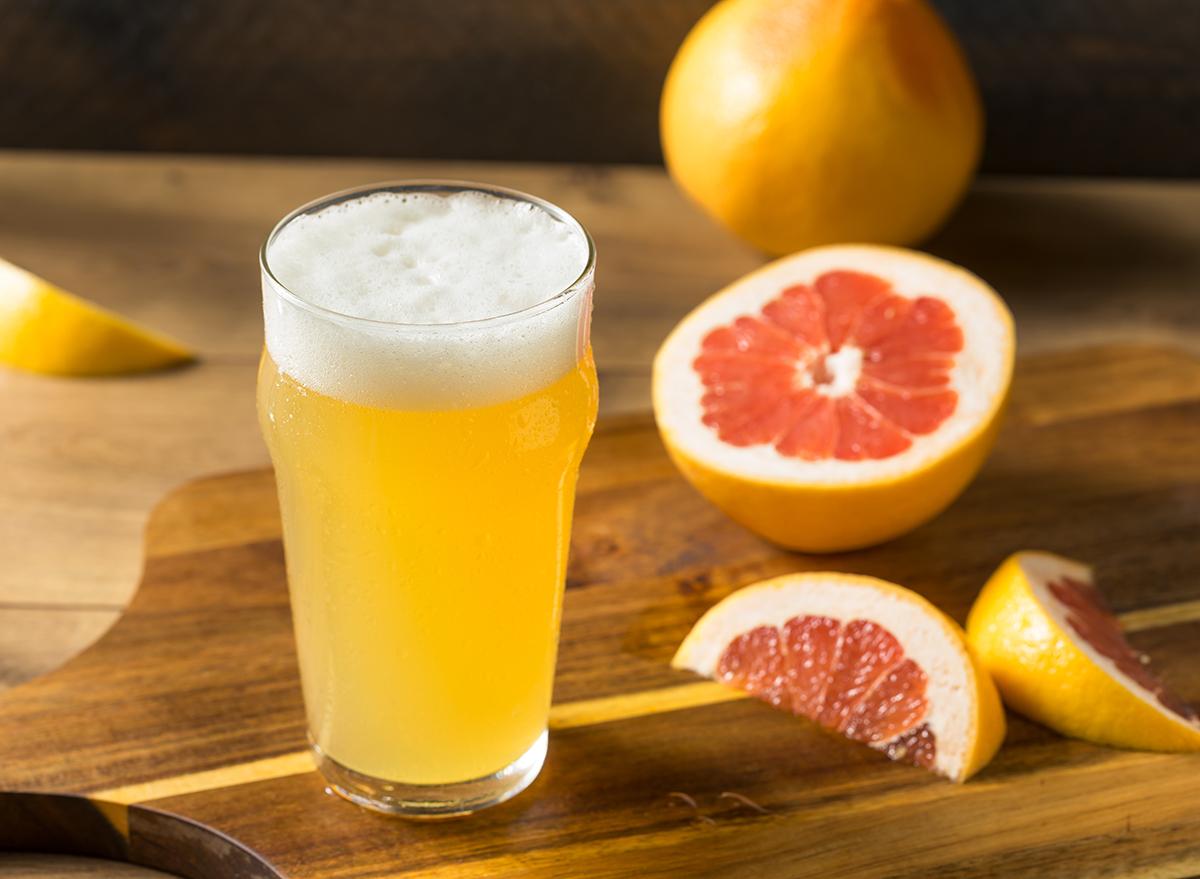 grapefruit shandy in glass