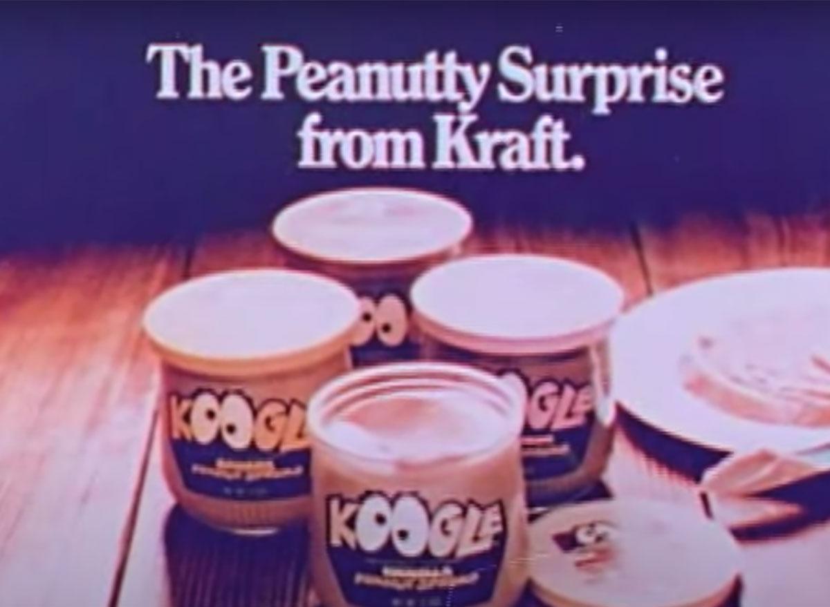 jars of koogle peanut spread from commercial 1970s