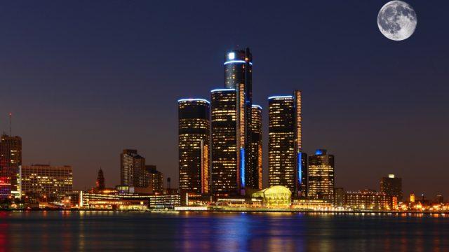 A Moon rising over Detroit, Michigan