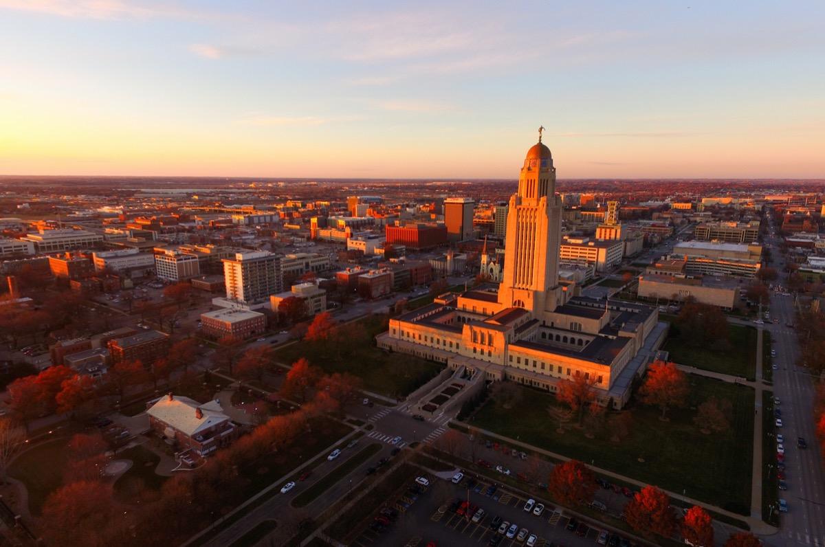 Fall Color Orange Tree Leaves Nebraska State Capital Lincoln