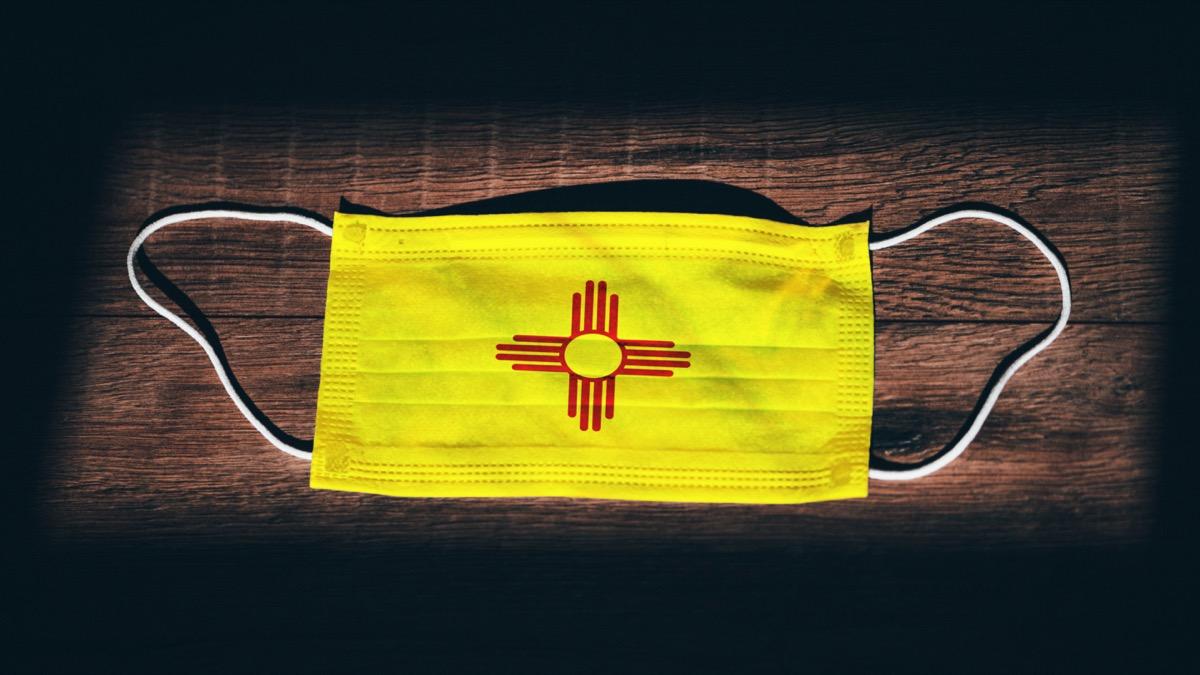 New Mexico Flag. Coronavirus