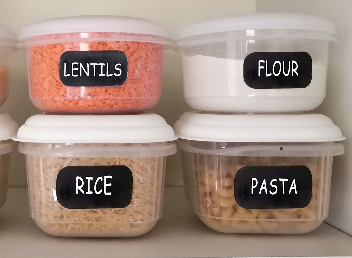 pantry staples rice pasta lentils flour in containers