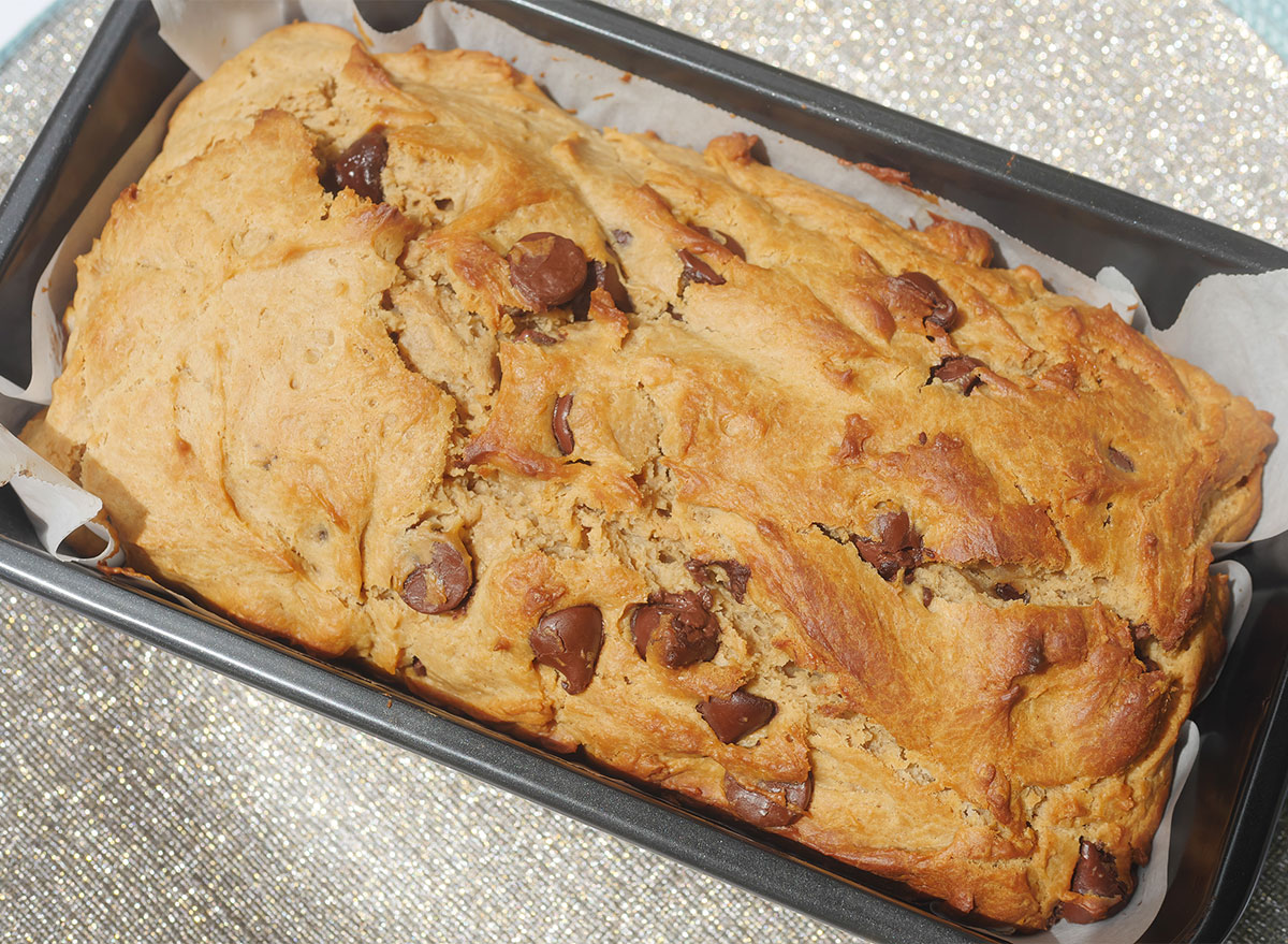 loaf of peanut butter bread with chocolate chips