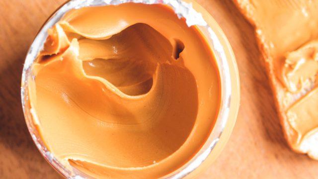 Jar of peanut butter open