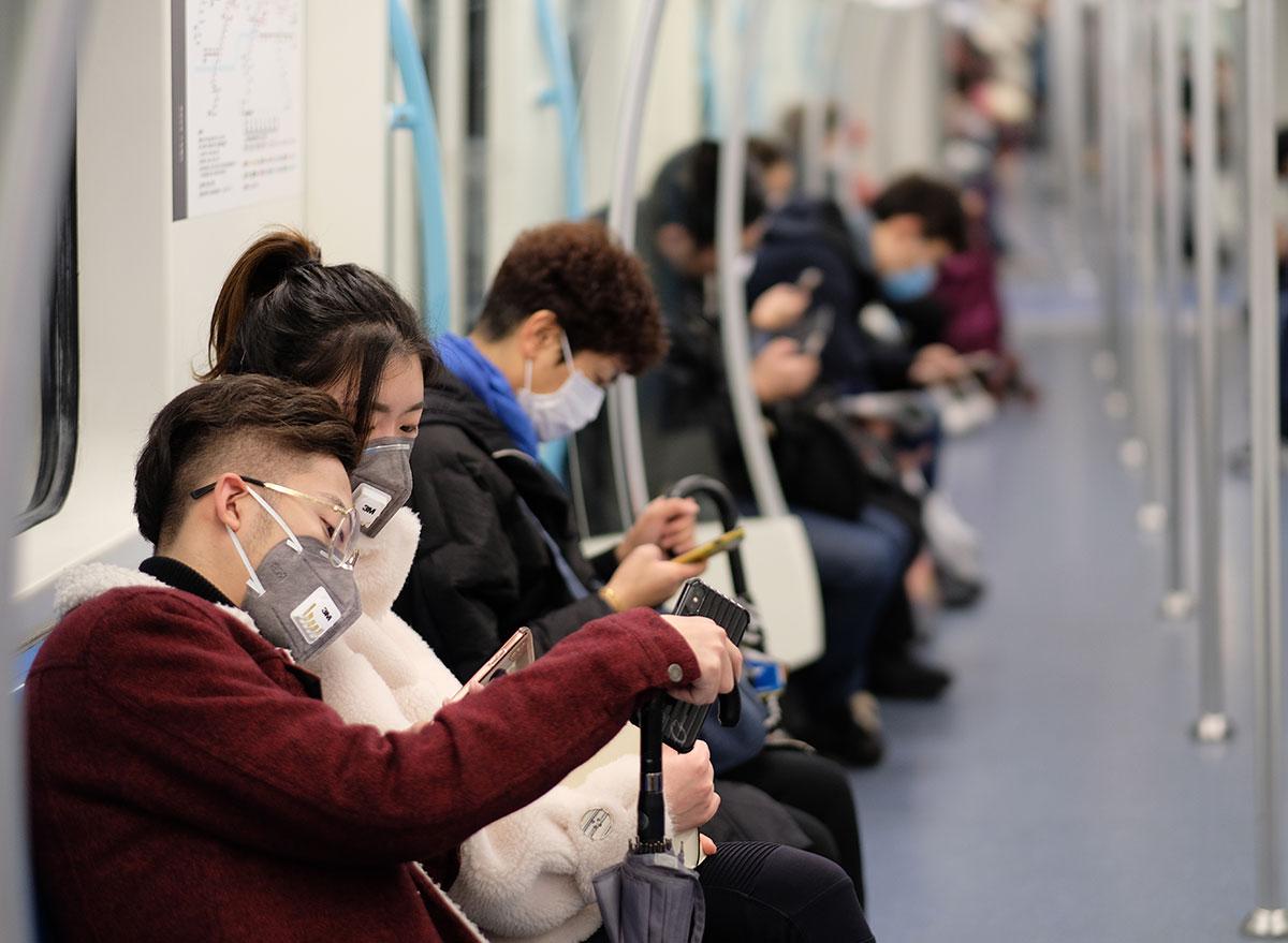 people masks subway