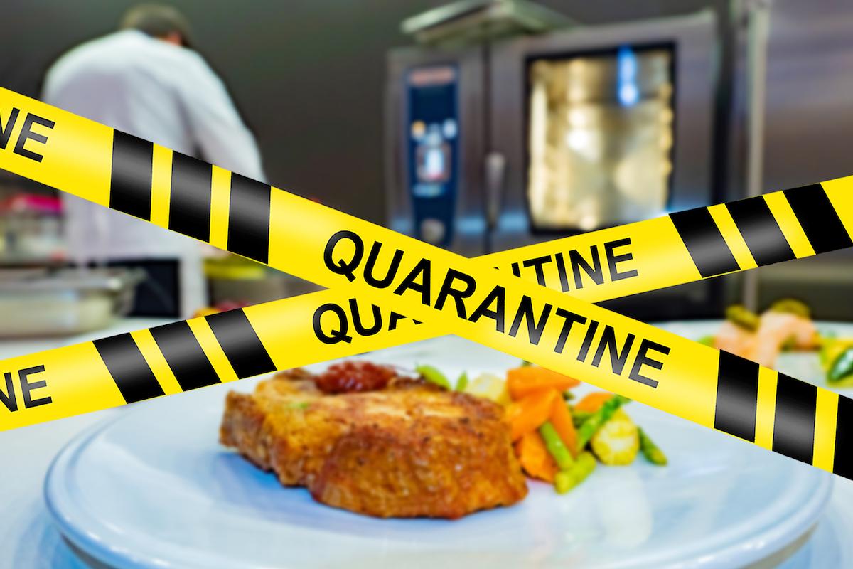police barrier at restaurant during quarantine