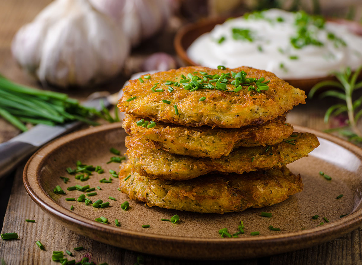 stack of potato pancakes with chives