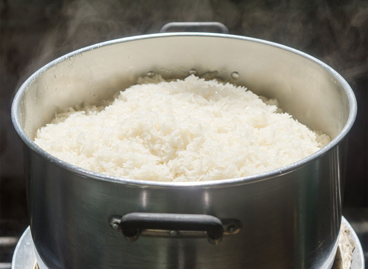 rice cooking in pot