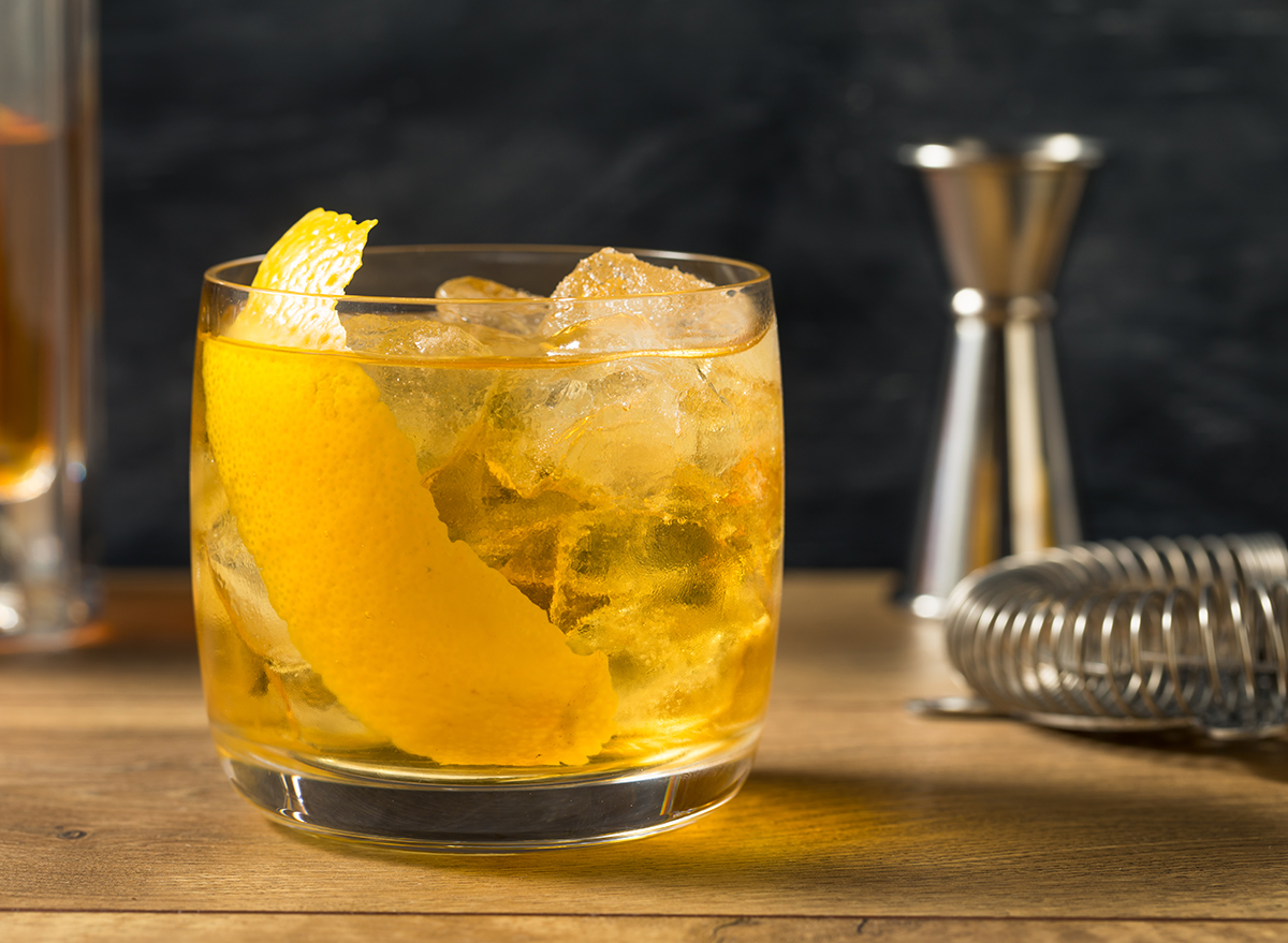 rusty nail cocktail with garnish