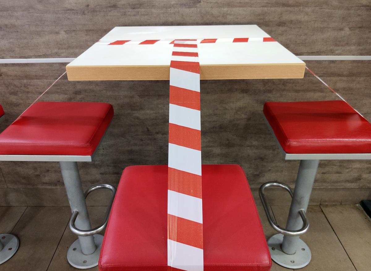 taped off closed restaurant table