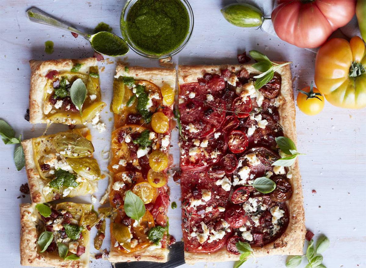 heirloom tomato tart pieces