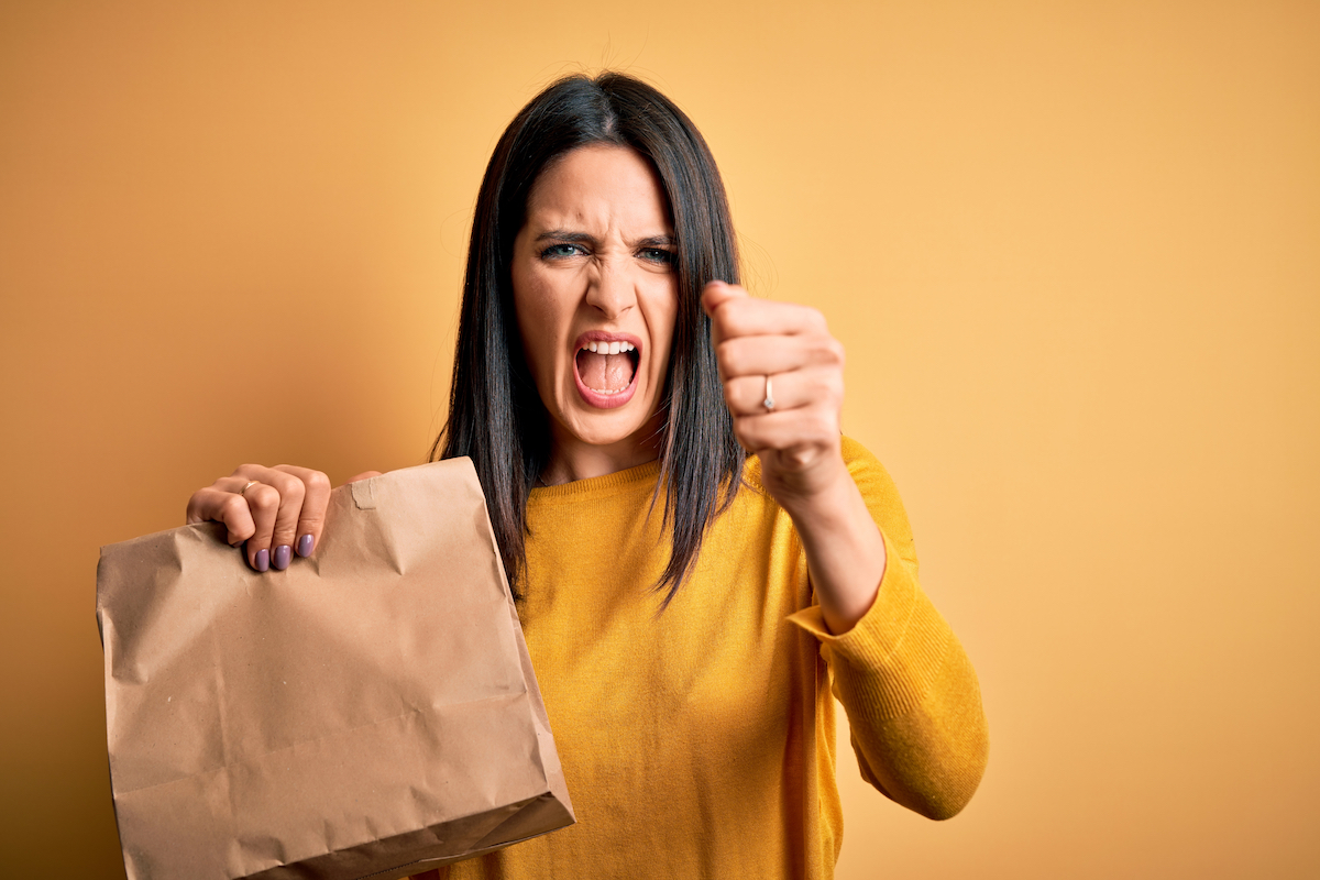 woman unhappy with her delivery order