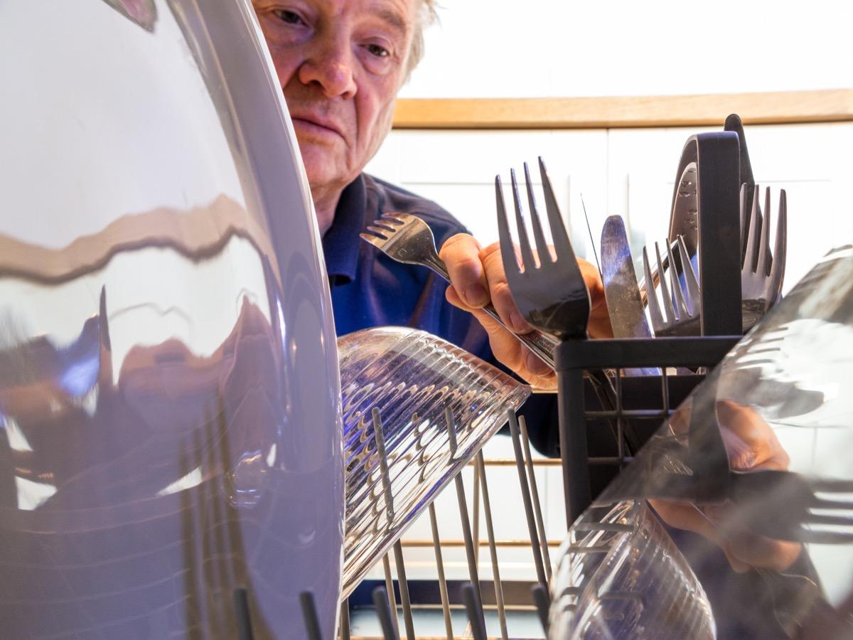 Unloading utensils from dishwasher