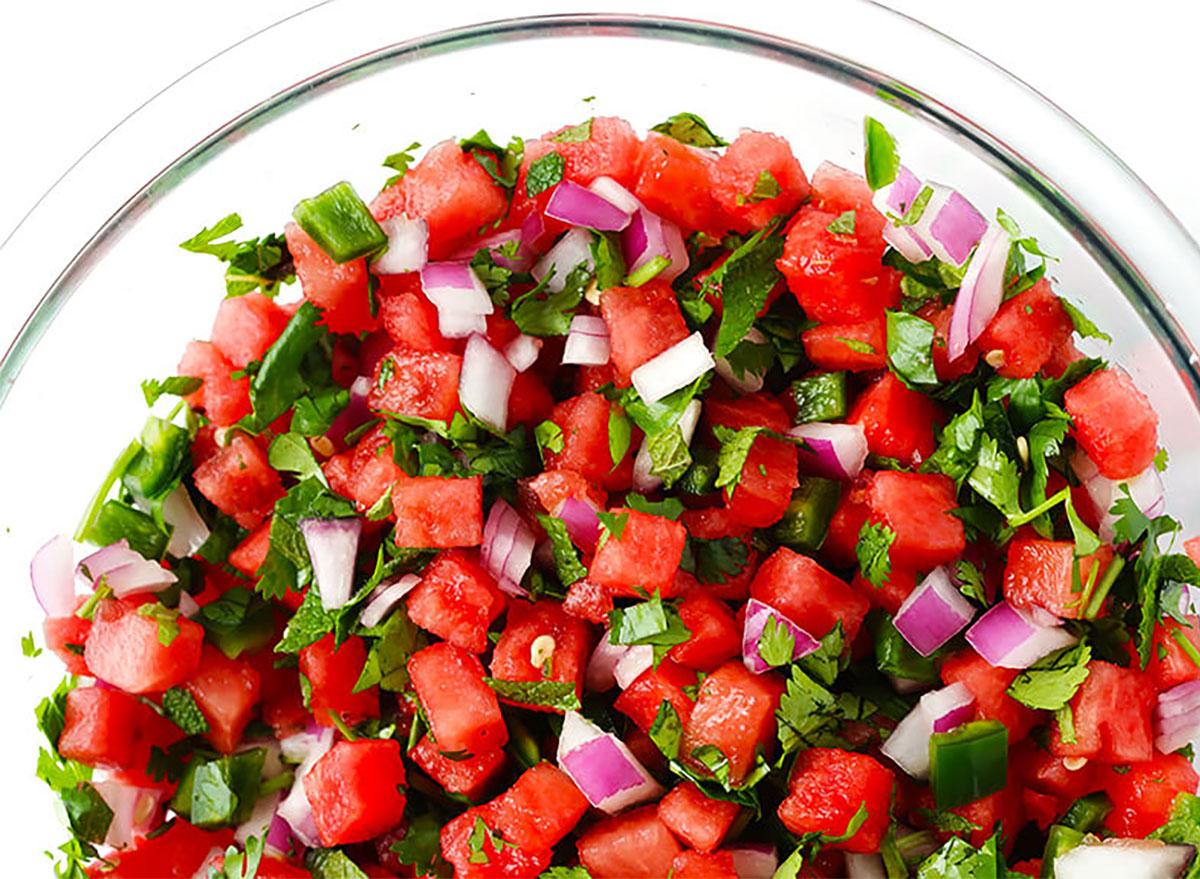 watermelon salsa in glass bowl