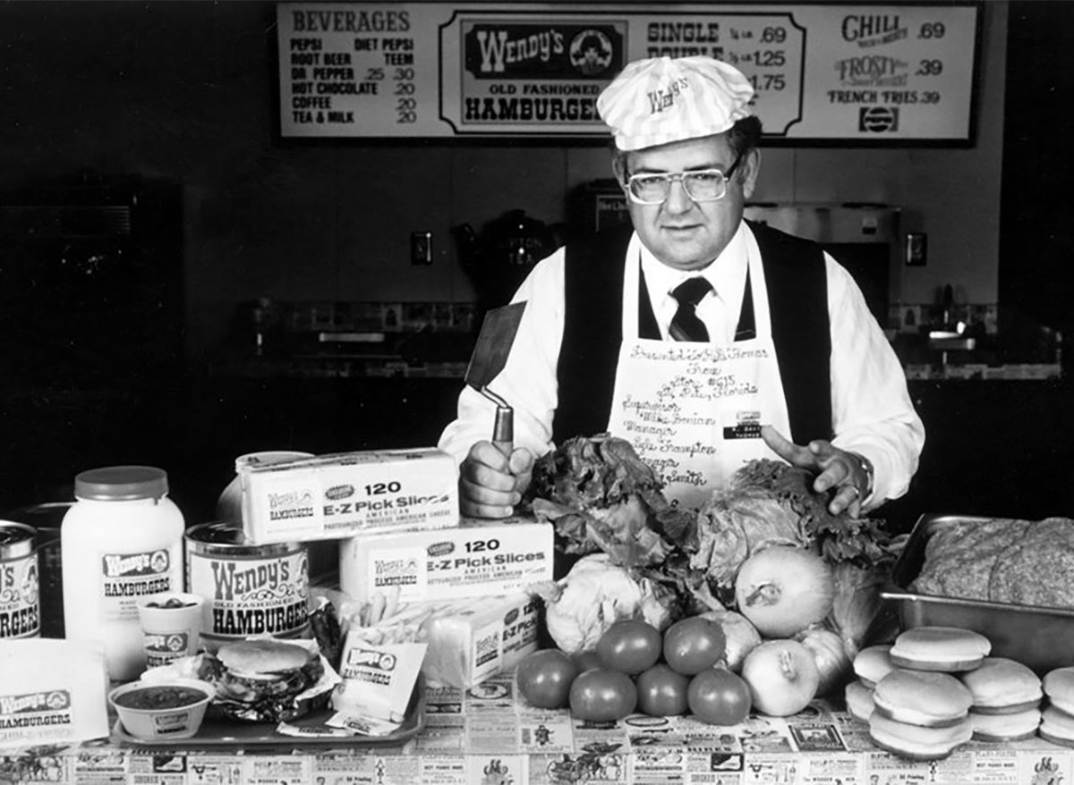 wendys founder dave thomas with burger meat cheese vegetables