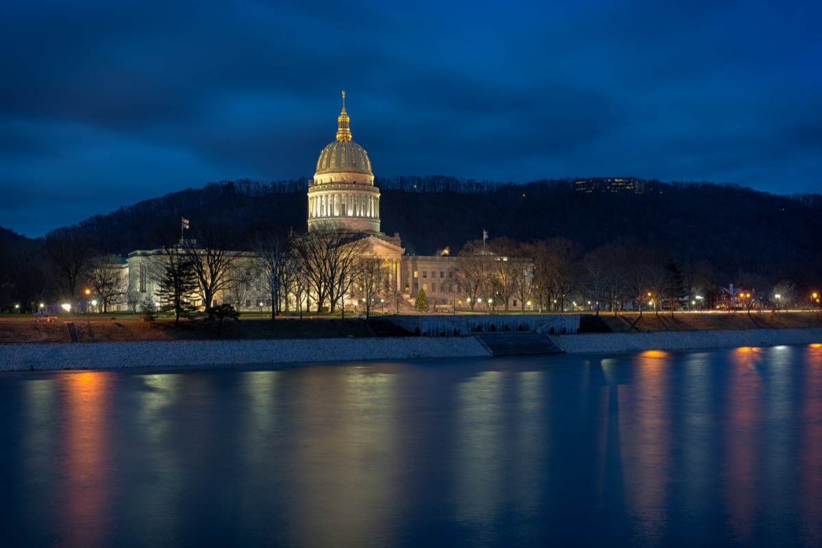 West Virginia State Capitol building from across the Kanawha River