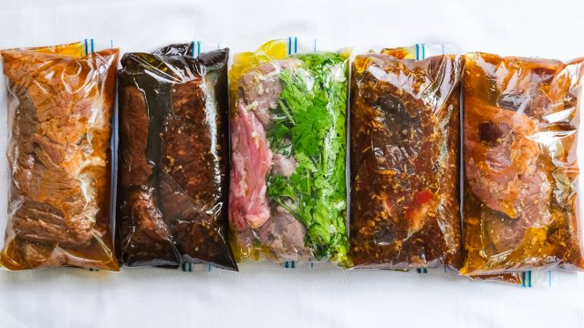 five steak marinades in small plastic bags