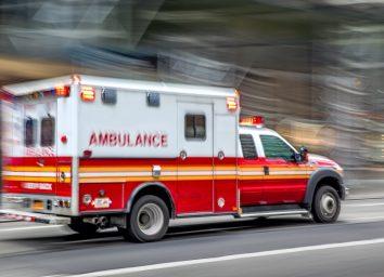 ambulance on emergency car in motion