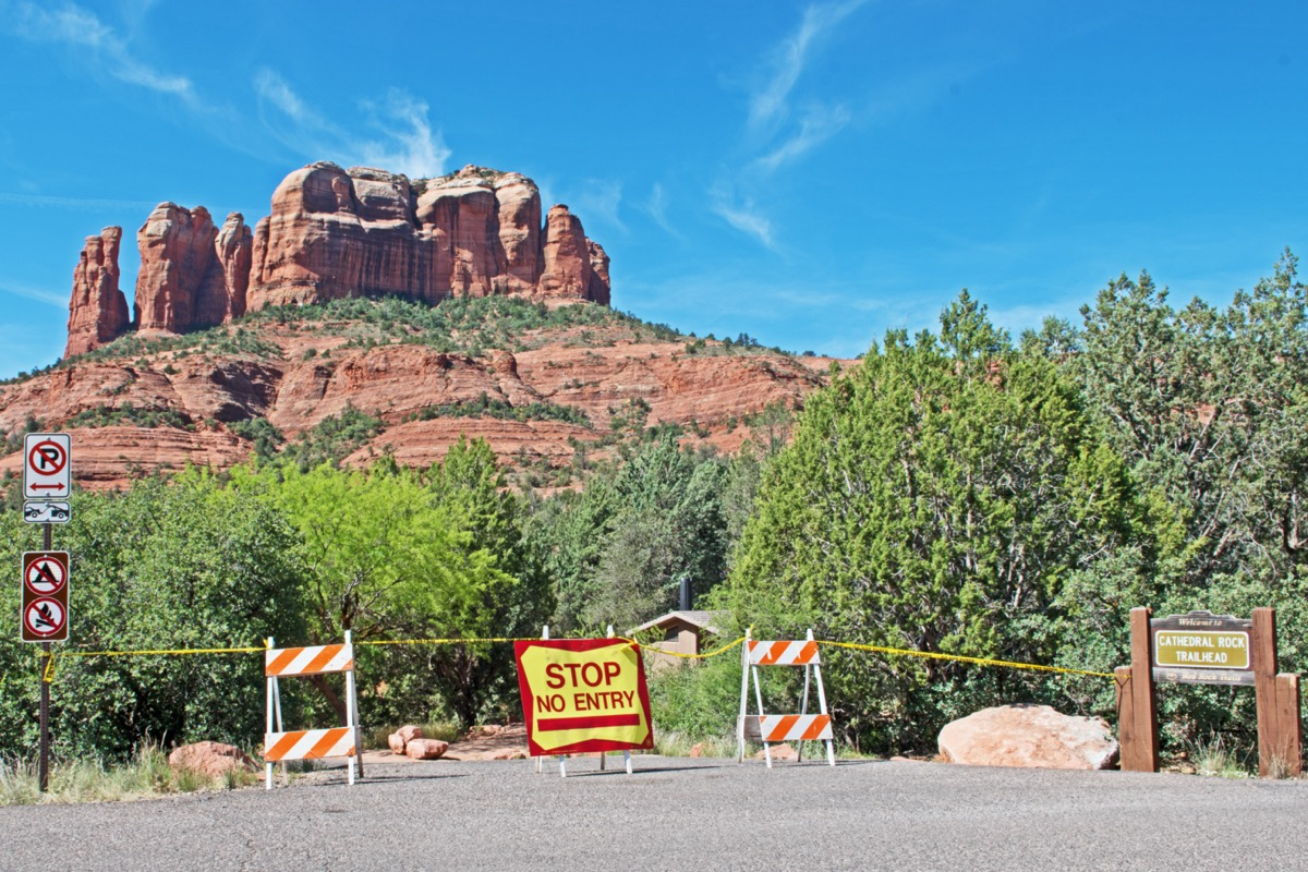 The popular Cathedral Rock trailhead has been closed by the U.S. Forest Service during the Covid-19 pandemic