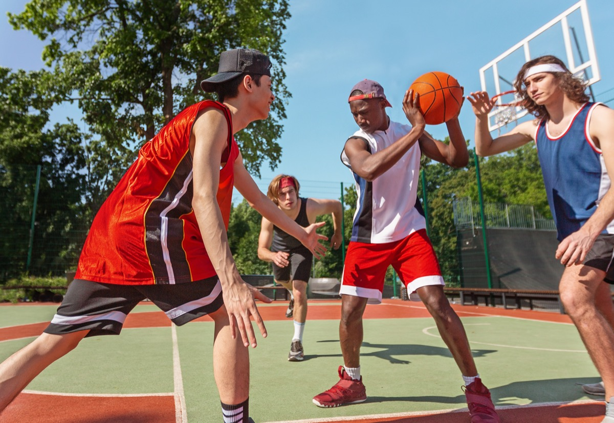 basketball team training for big match at ourdoor sportsground