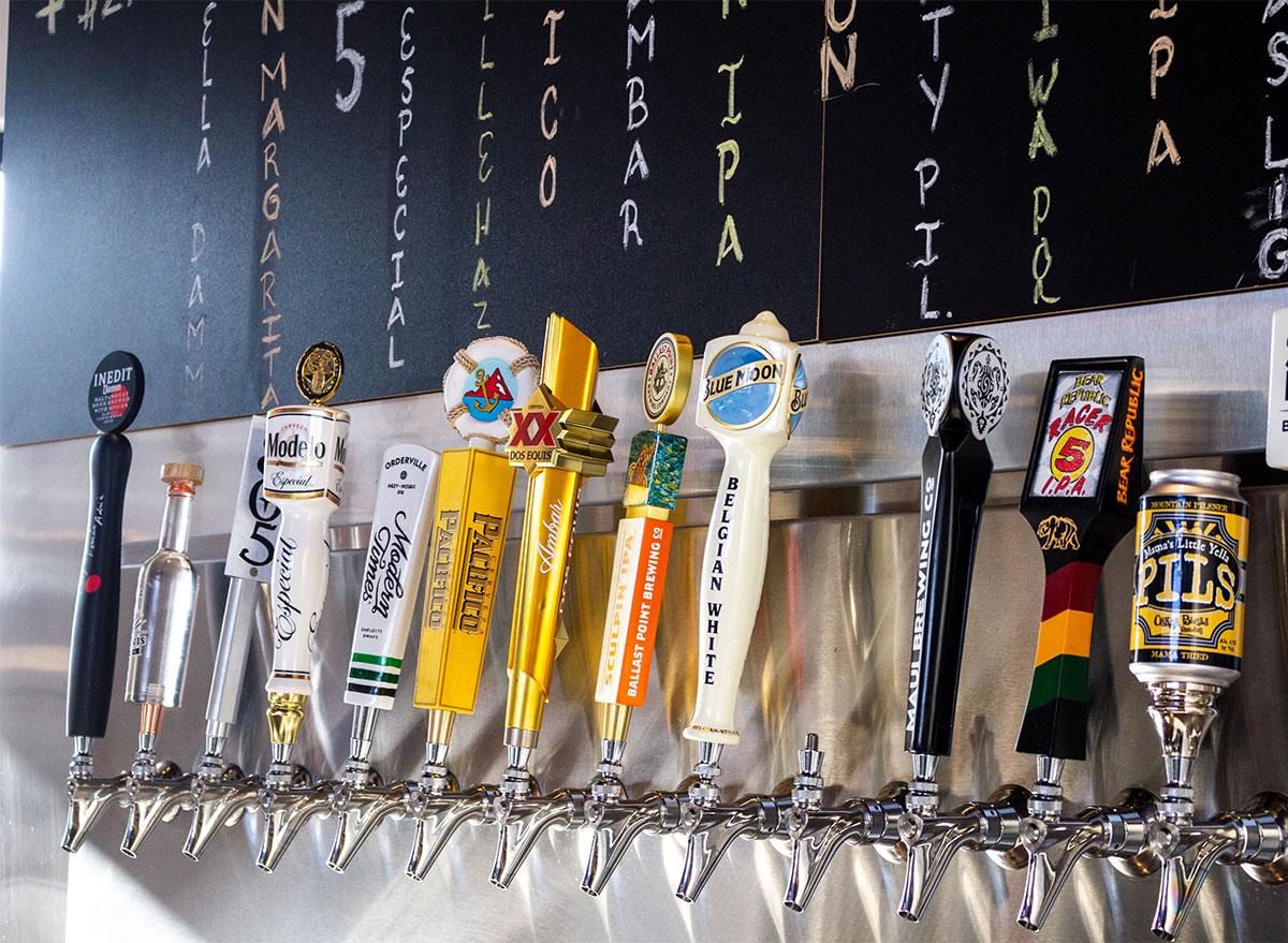 beer tap handles at bar