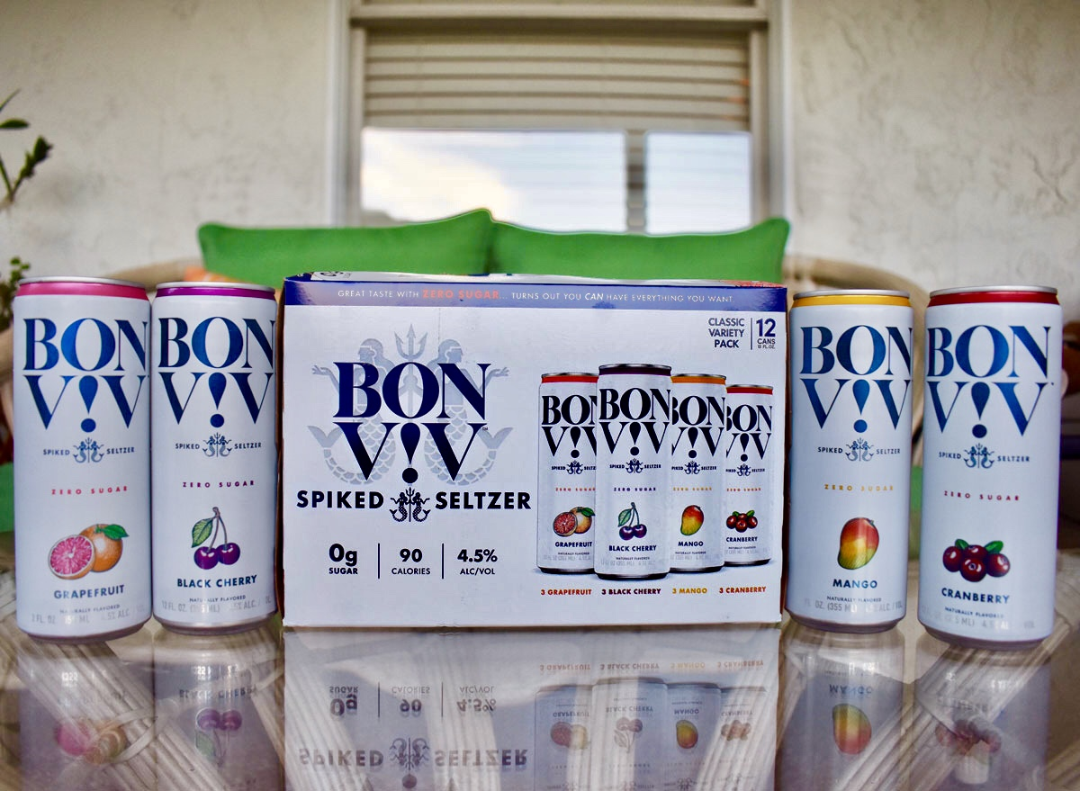 bon viv spiked seltzer case with cans