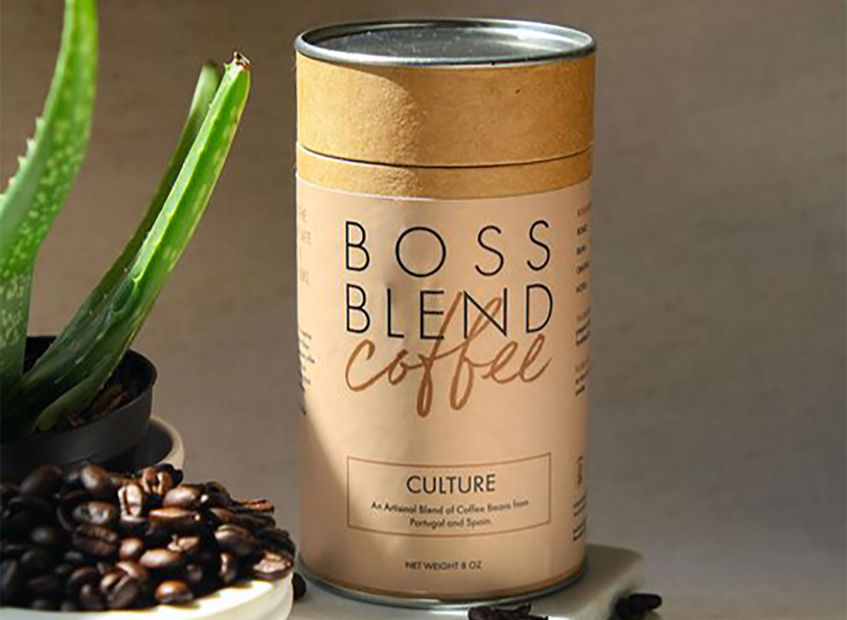 container of boss blend coffee beans