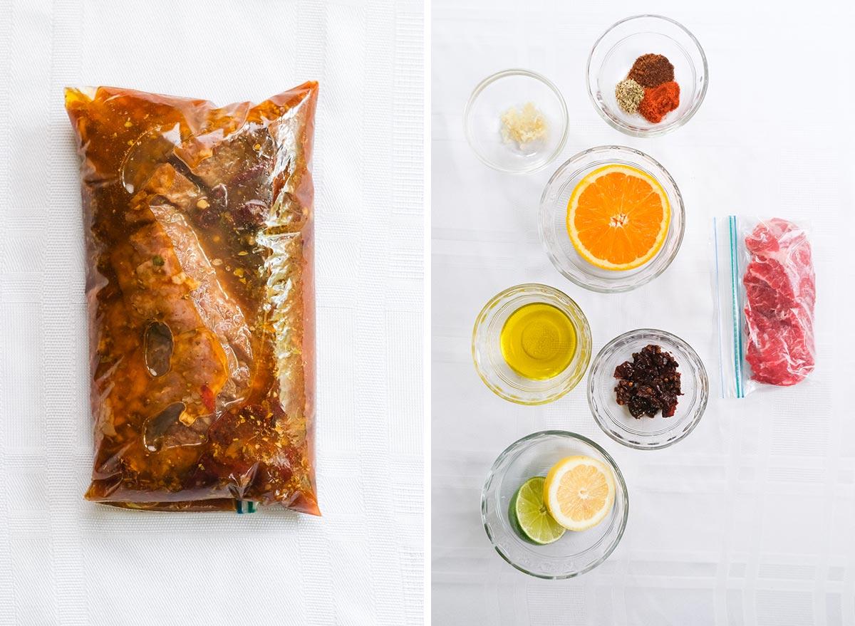 carne asada marinade with ingredients