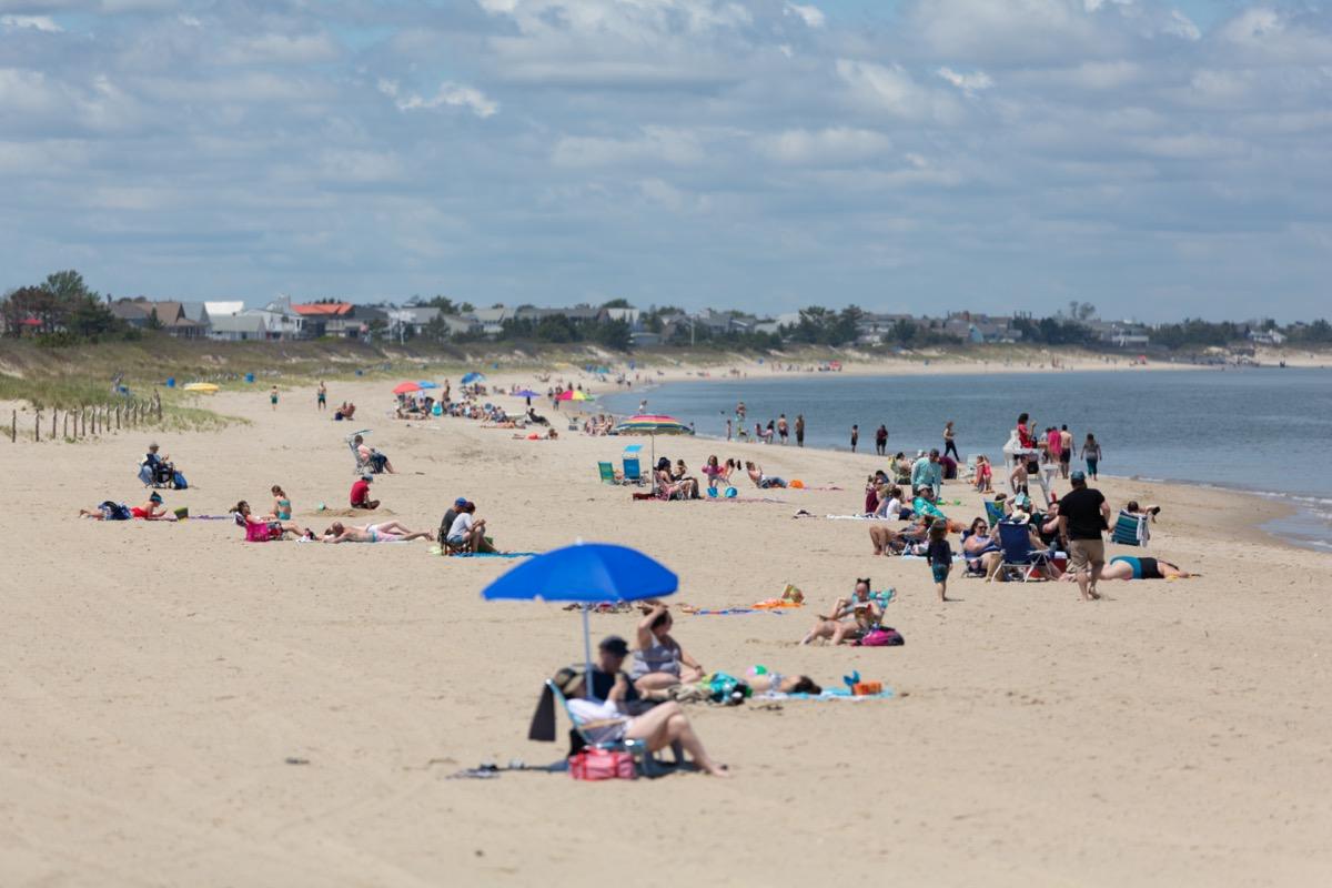 The beach goers on the first day Lewes beach opened from the Covid-19 / Coronavirus shut down.