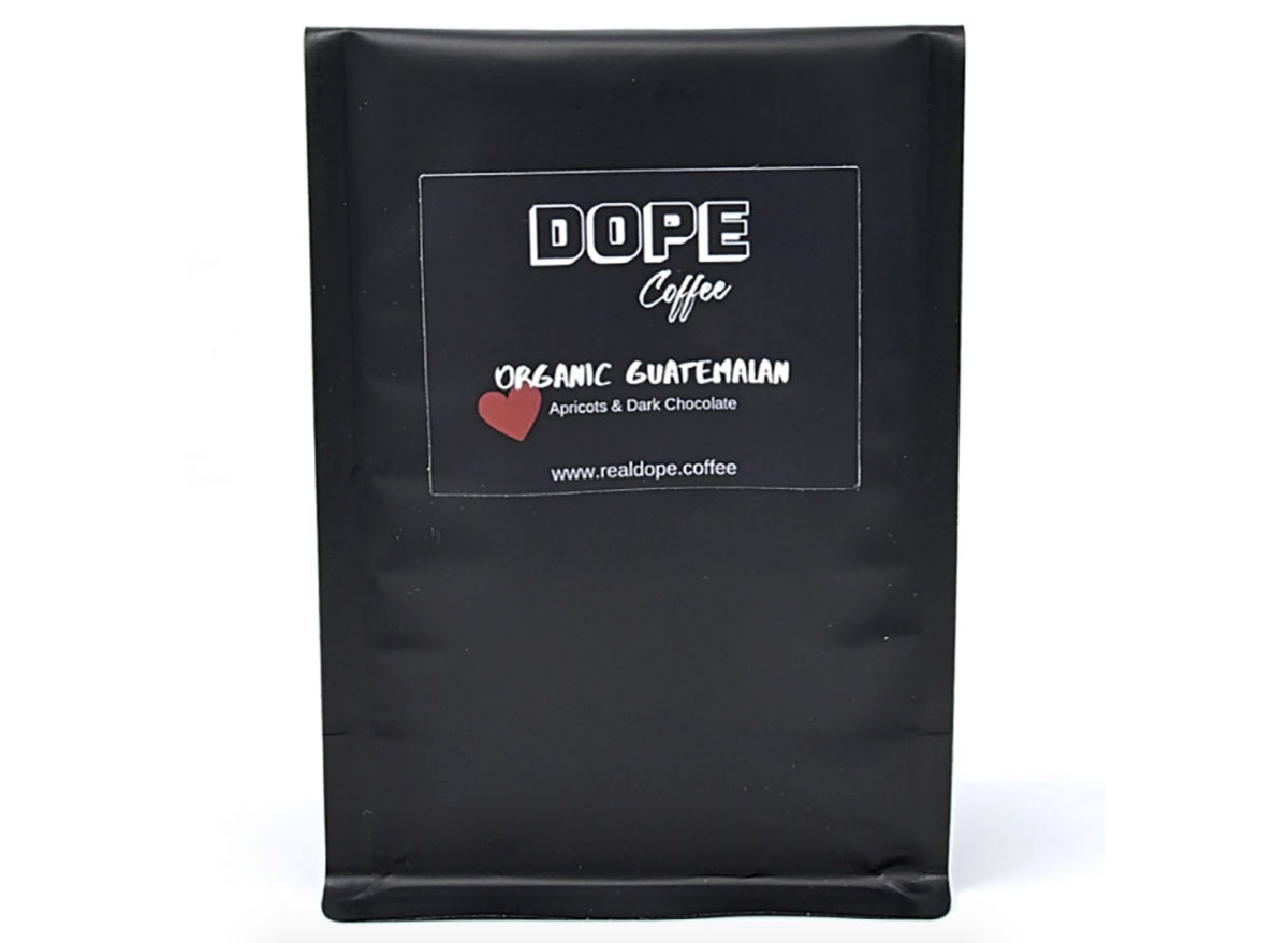 bag of coffee beans from dope coffee