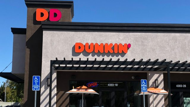 dunkin donuts storefront with DD sign