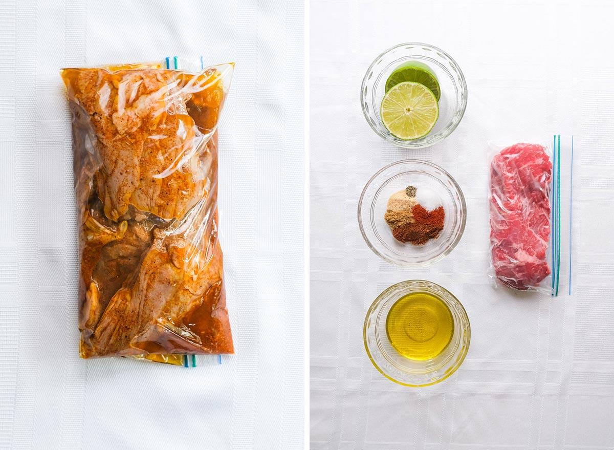 fajita steak marinade with ingredients