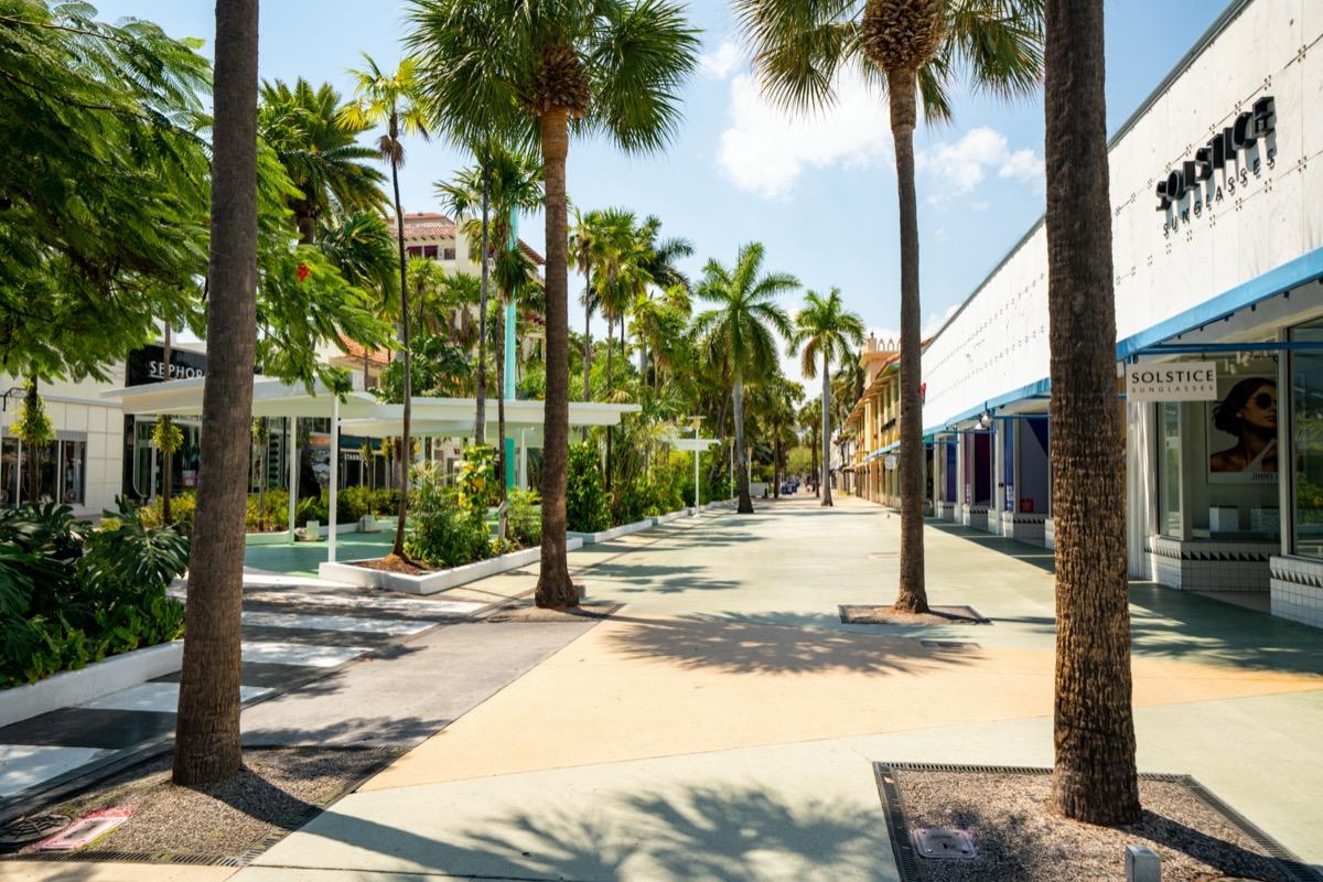 Lincoln Road shut down to the public to stop spread of Coronavirus Covid 19 Miami Beach Florida